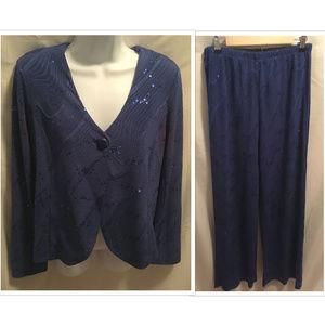 Sz Small Bob Mackie Jacket Pants Set Blue Sparkle
